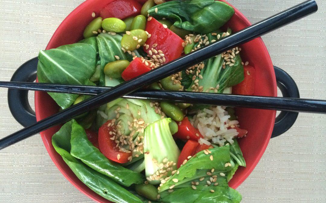 Edamame Bok Choy Rice Bowl (Vegan, Gluten-Free)
