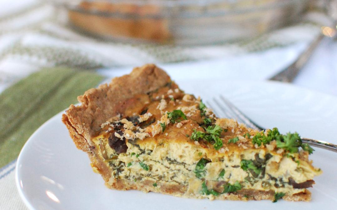 Mushroom Spinach Tofu Pie (Vegan)