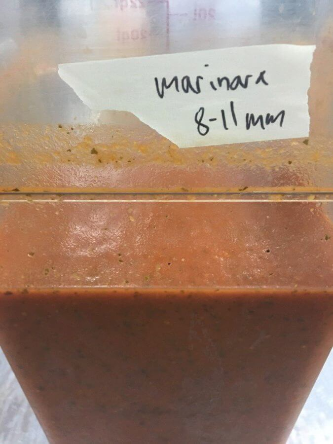 Sauce recipes such as this one are developed by Chef Aramallo and then executed in bulk by Veestro employees.