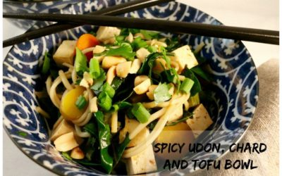 Spicy Udon, Chard and Tofu Bowl (Vegan)