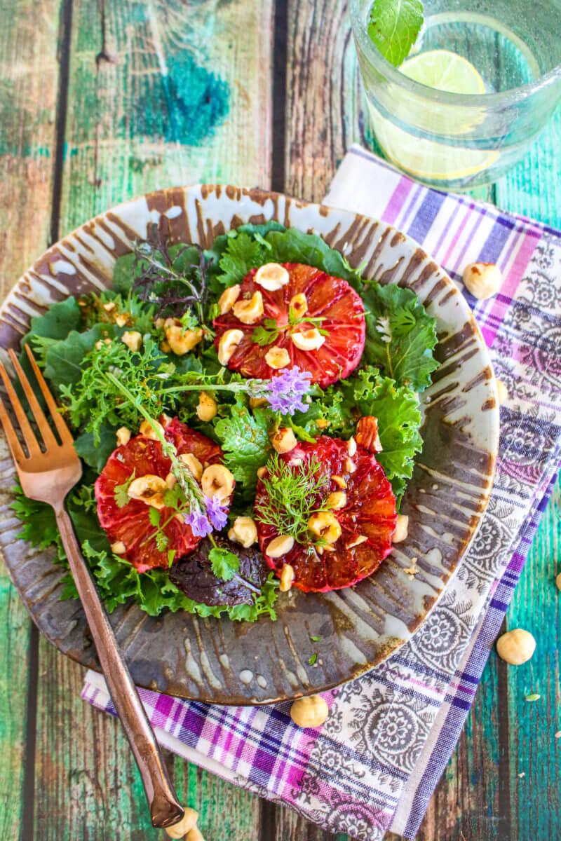 Blood Orange Hazelnut Kale Salad -- Sharon Palmer, MSFS, RDN