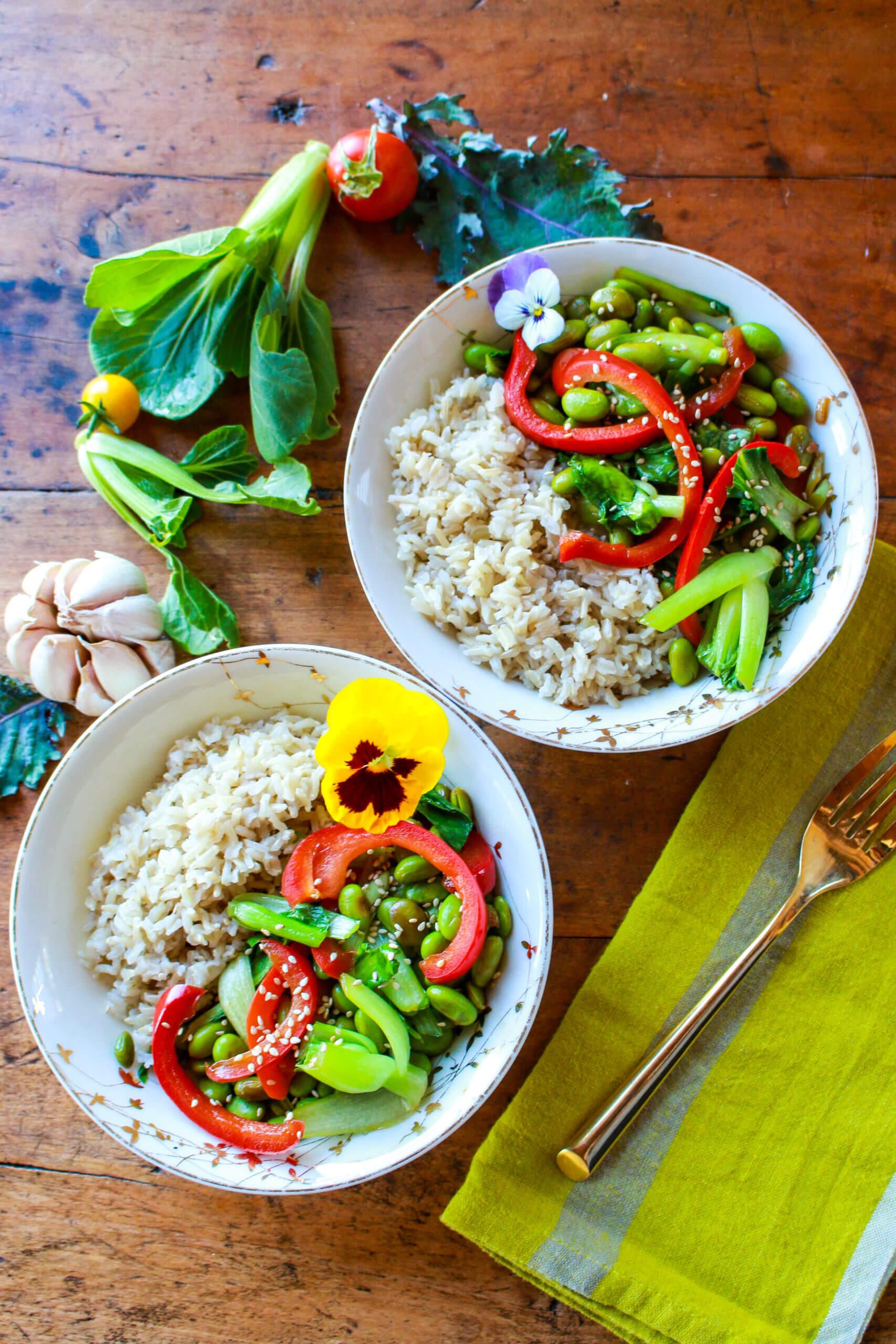 Edamame Bok Choy Rice Bowl