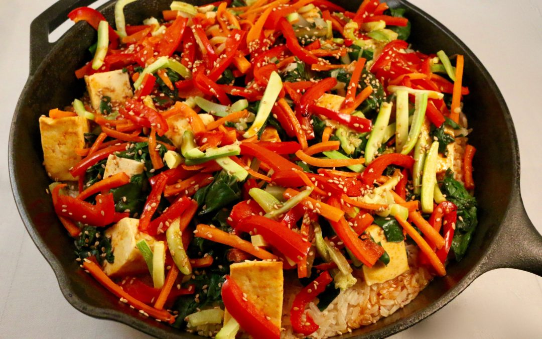 Easy Vegetable Tofu Bibimbap Skillet (Vegan, Gluten-Free)