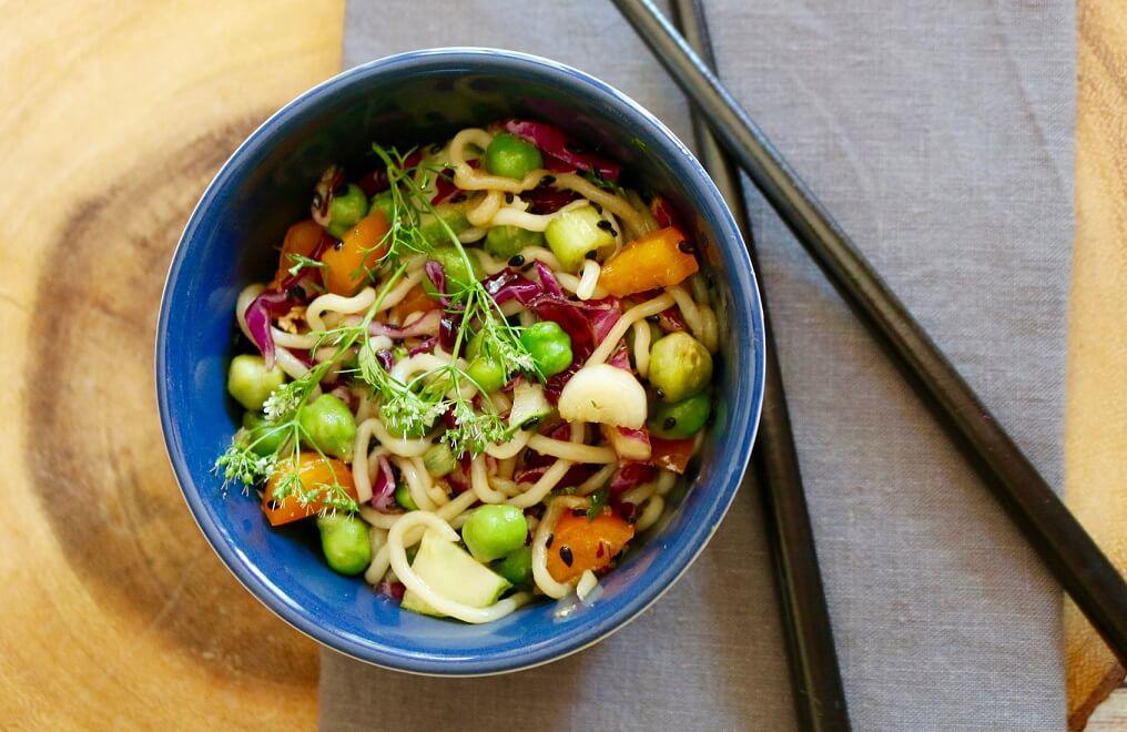 Shirataki Noodle Salad with Ginger Sesame Dressing (Vegan, Gluten-Free)