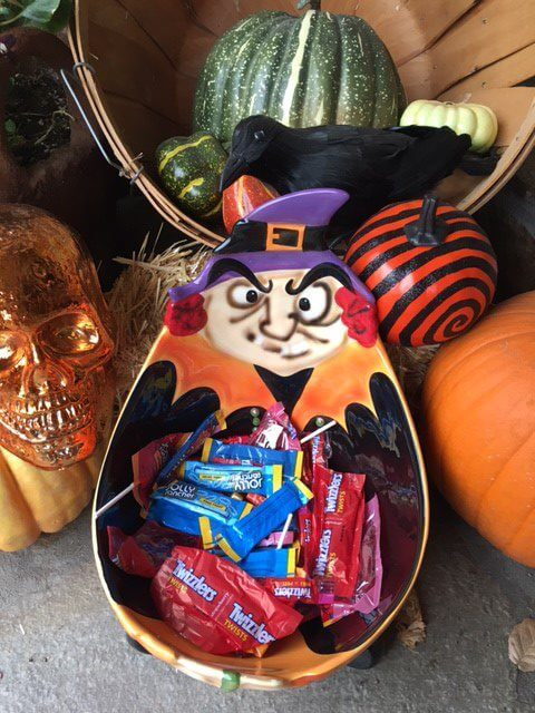 The witch's candy bowl is filled with candy that's not so popular around our house.