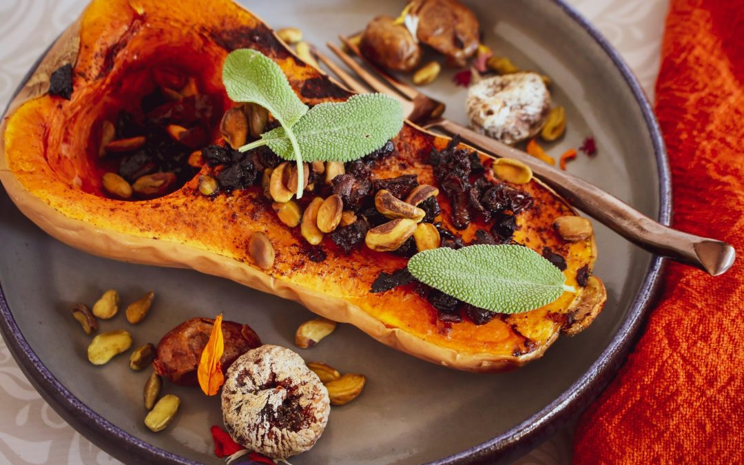 Roasted Butternut Squash with Dates, Figs and Pistachios (Vegan, Gluten-Free)