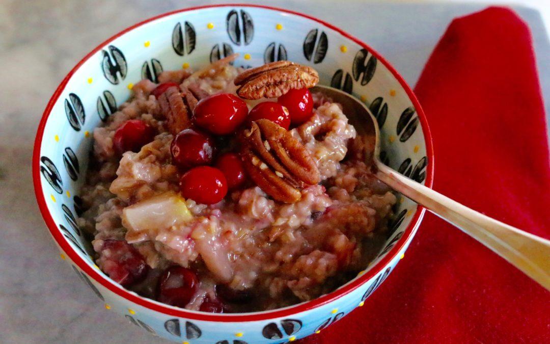 Cranberry Pear Steel Cut Oats (Vegan, Gluten-Free)