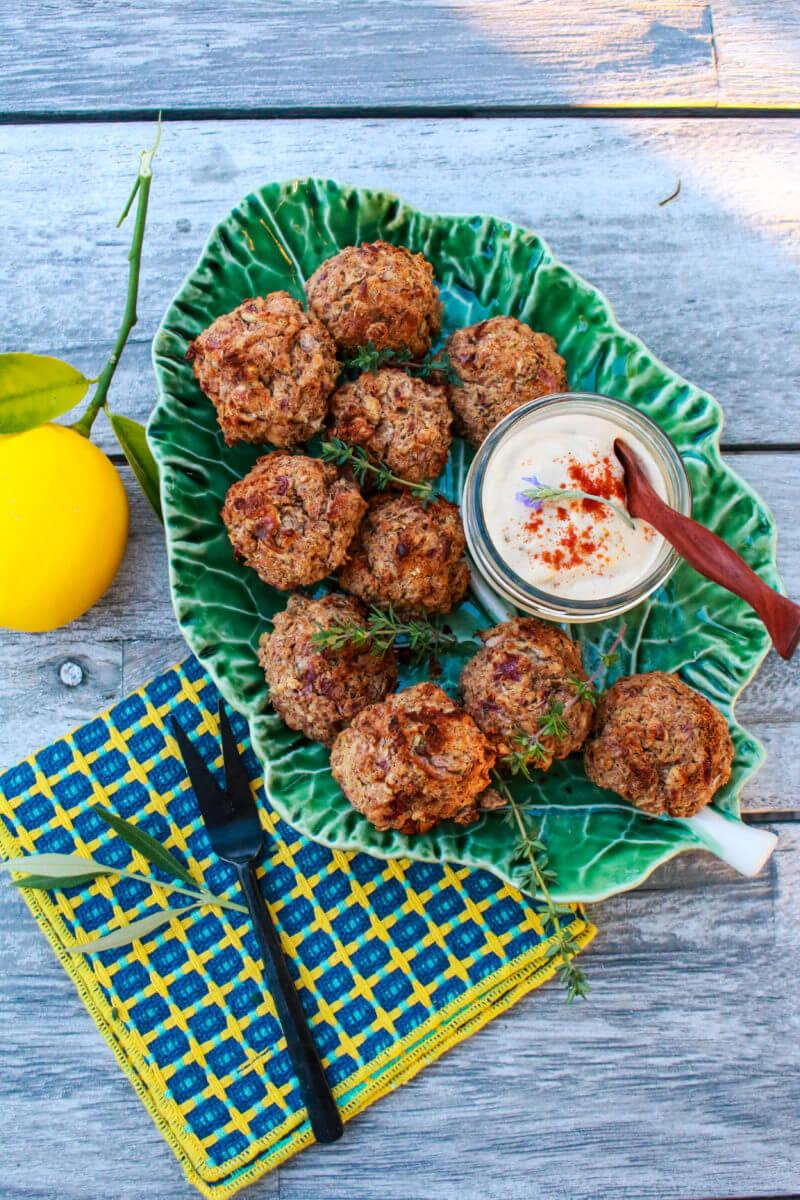 Greek Veggie Balls With Tahini Lemon Sauce Sharon Palmer The Plant Powered Dietitian