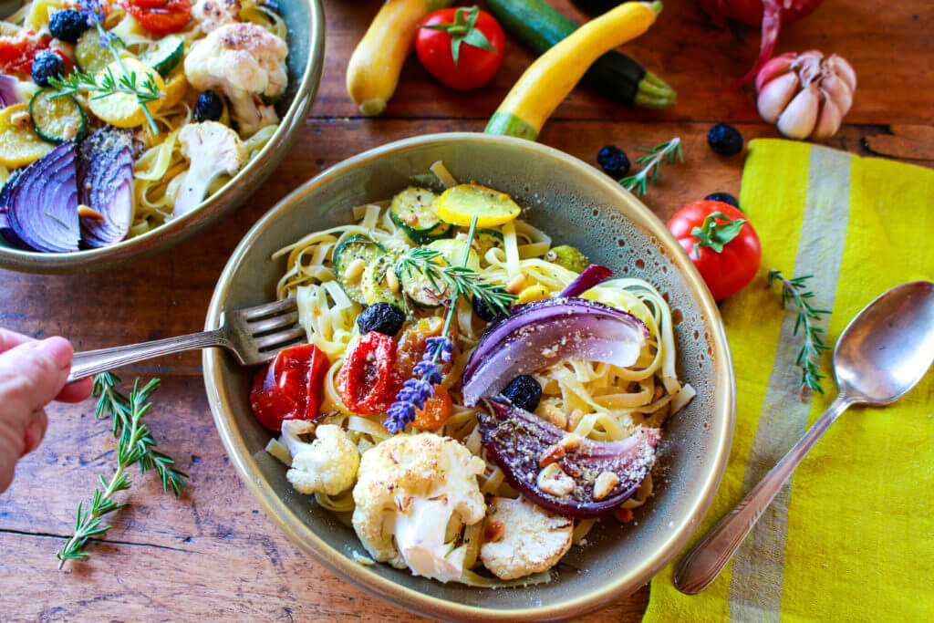 Fresh Fettuccine with Roasted Rosemary Vegetables
