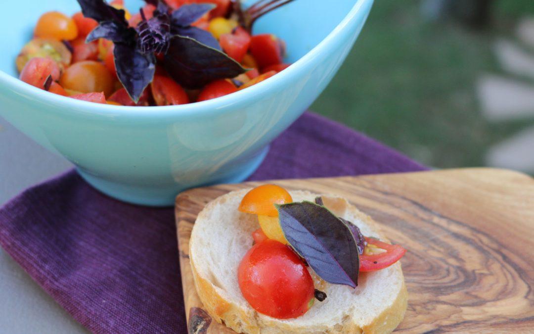 Purple Basil Heirloom Tomato Bruschetta (Vegan, Gluten-Free)