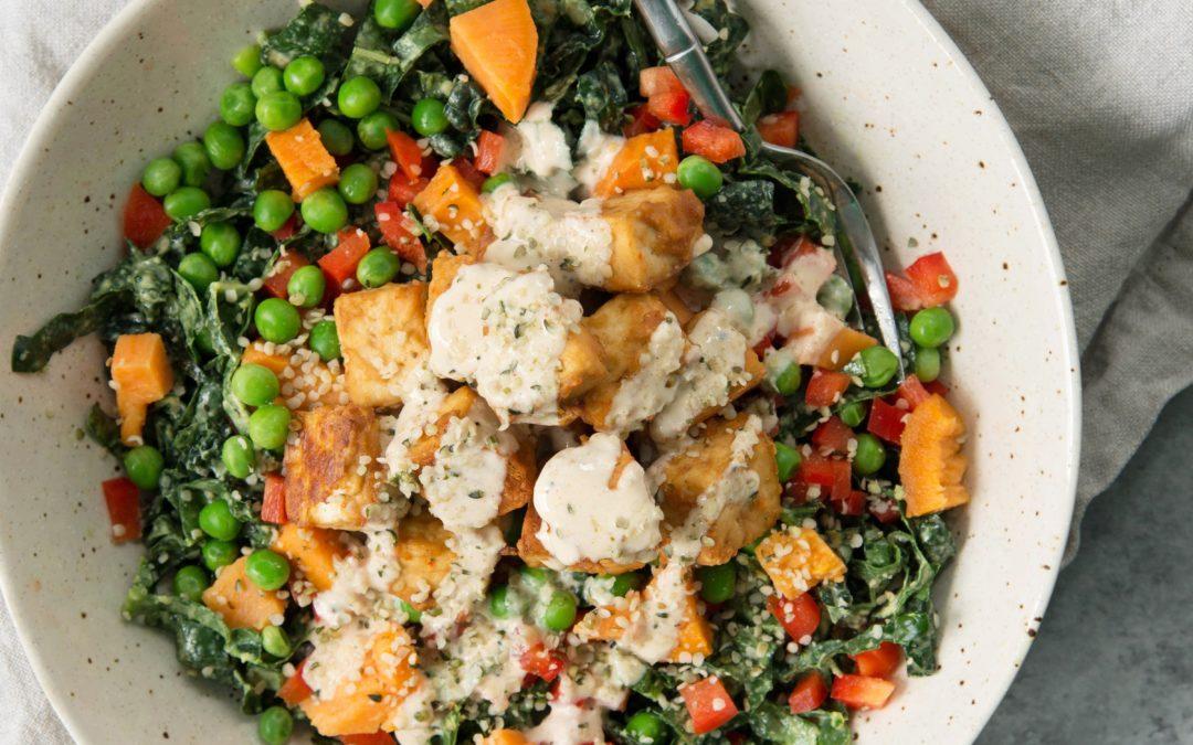 Tofu Kale Power Bowl with Tahini Dressing (Vegan)