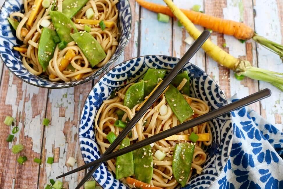 Sesame Udon Salad with Snow Peas (Vegan) - Sharon Palmer