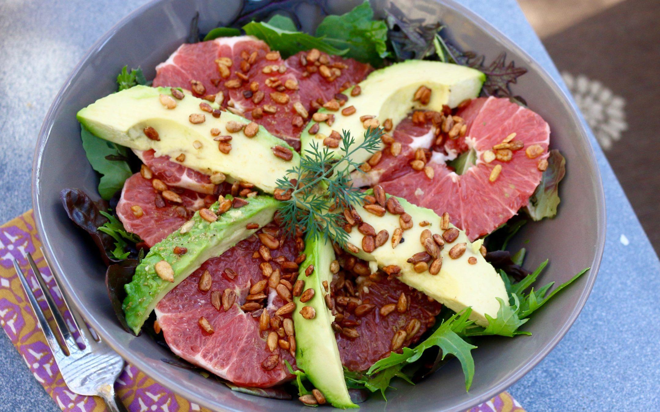 Grapefruit and Avocado Salad with Lemon Cumin Vinaigrette (Vegan, Gluten-Free)