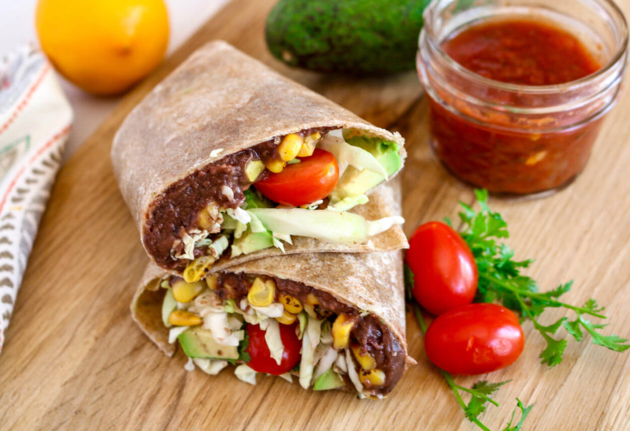 Burrito With Refried Beans And Corn Sharon Palmer The Plant Powered Dietitian
