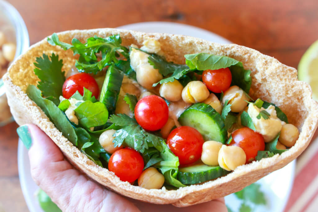 Double Chickpea Vegetable Pitas