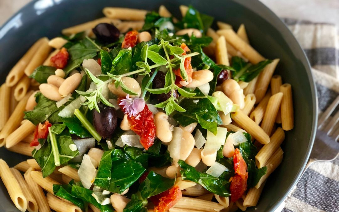 Image result for Whole-Grain Penne Pasta with Greens and Beans