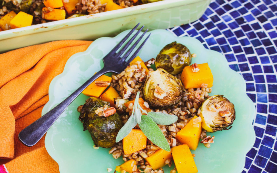 Balsamic Butternut Squash and Brussels Sprouts with Farro