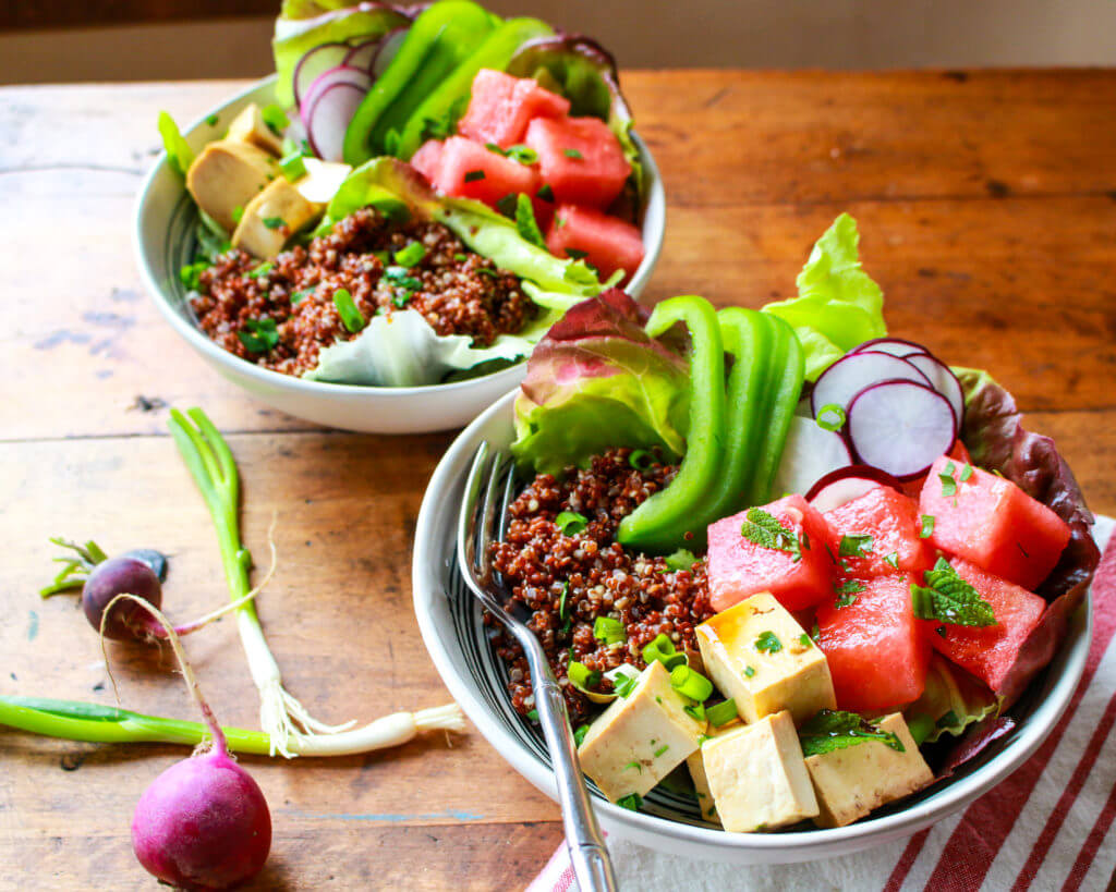 Vegan Watermelon Poke Quinoa Tofu Bowl